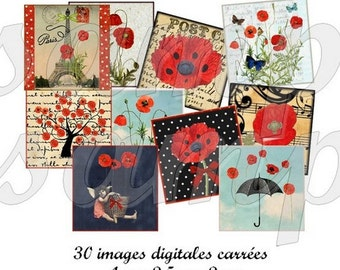 Digital collage sheet Scrabble Poppies for pendant, scrapbooking, printable images poppy, instant download