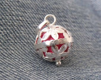 925 Sterling Silver Harmony Chime Ball Angel Caller Mexican Bola Pink Ball Chiming Pendant