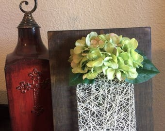 Mason Jar String Art, Flower Art, Rustic Decor