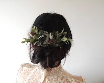 Rustic Blue Wedding Hair Clip- Bridal Hair Accessory- Flower Girl Barrette- Baby Headband-Boho Bridal Headpiece- Wedding Flower clip