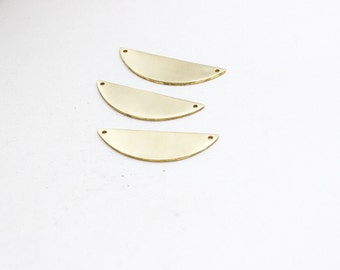 5 Pcs Raw Brass Chevron 14x42mm Stamping Blank , semicircle, Crescent , Chevron Pendant, AC2