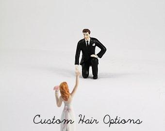 Reaching Bride and Helpful Groom Wedding Cake Toppers - Personalized Wedding Cake Toppers - Porcelain Cake Topper - Bride and Groom