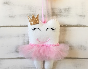 Personalized Tutu Tooth Fairy Pillow with Glitter Crown or Bow, choose your colour