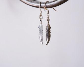 Feather earrings / Minimalistic earrings