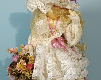 """13"""" Tall Natural Abaca Straw Flower Girl Style Doll Cream White Lace Dress Blonde Hair Curl Ornamental Mantel Dresser Decorative Decoration"""