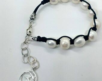 Pearl and Leather Handmade Boho Bracelet - Prima Donna Beads