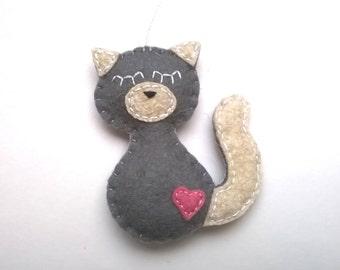 Grey Siamese cat felt ornament - handmande home decor for pet parents - Baby shower ideas, nursery decoration kidsroom - eco friendly
