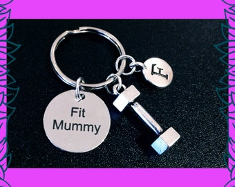 Fitness gift for mum, fitness keyring, Fit mummy key ring, moms into fitness gift, mum fitness keychain, dumbbell charm, Fit Mummy