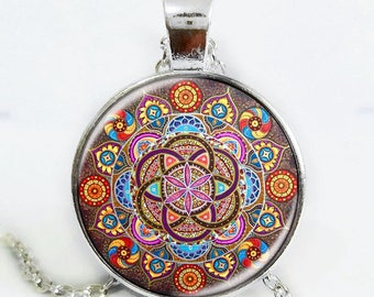 Mandala chakra Necklace Pendant Dragon Dinosaur Chain Woemn Mens gift