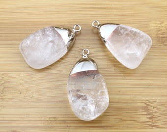 White Crystal pendant Druzy pendant,White Druzy Cluster pendant with silver Electroplated Edges-- Drusy Pendant--TR-035