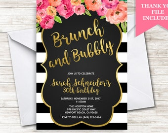 Brunch Birthday Invite Invitation Adult Floral Flowers Stripes Bubbly Digital Gold ANY AGE Chalkboard 5x7 Personalized