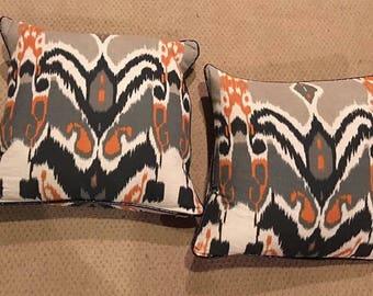 Pair of Vintage Ikat Decorative Pillows