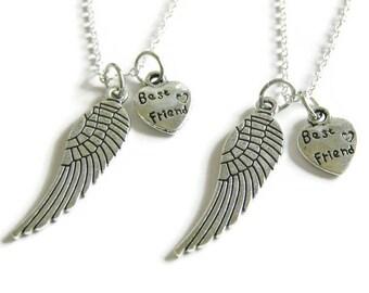 2 Best Friends Angel Wings Necklaces BFF