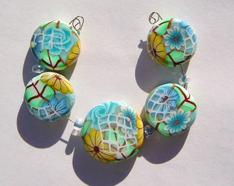 Turquoise Floral Window  Artisan Polymer Clay Bead Set with Focal and 4 Beads