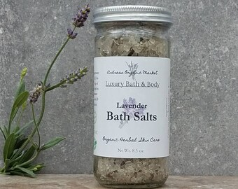 Organic Lavender Bath Salts, Flower Bath Soak, Natural Soaking Salts, Organic Bath Salts, Celtic Sea Salt Soak, Organic Bath and Body
