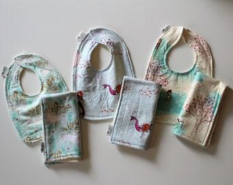Girls Baby Bib and Burp Cloth, Newborn, Baby Shower Gift, Organic Cotton