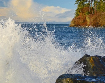 DRENCHED, Whiffin Spit Wave, West Coast Shoreline, Vancouver Island, Ocean, Blue Sea, Waves and Rocks