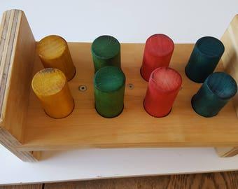 Handmade non-toxic child's  wooden hammer and pegs 'bang bang' toy