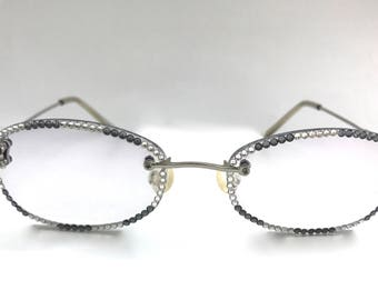 Frameless + Tinted Reading Glasses Made with Swarovski Crystals +2.00