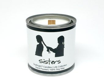 Sisters SoyBright™ Paint Can Half Pint Soy Wax Wooden Wick Candle | Sisters Candle Gift | Eco Friendly | You Pick Scent | No Phthalates 8 oz