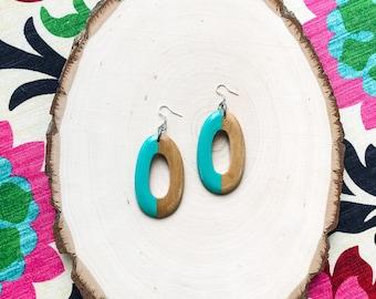 Hand Painted Wood Earrings- Seafoam Green