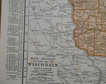 1937 Wisconsin map, Antique vintage US State Map, old wall art map