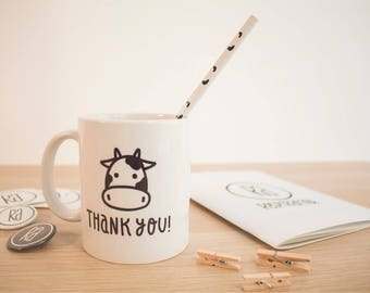 Vegan Ceramic Mug 'Only Vegetable Drinks', Happy Cow, Vegan Mug