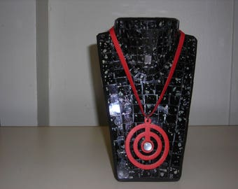Spiral red lambskin leather necklace