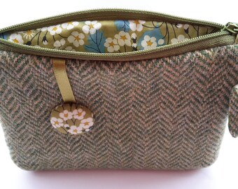 Mother's Day Gift Harris Tweed Pouch, Green Herringbone Purse, Liberty Mitsi, Camera Case, Card Holder, Flower Purse, Gifts for Mom