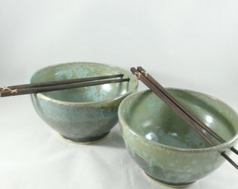 Chopstick Bowl , Ramen Bowl, Ceramic Rice bowl, noodle bowl, lichen glaze, Thai food, pho bowl , kitchen dinnerware  - Colorado made pottery