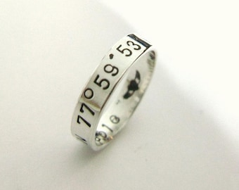 Custom Word Wide Band Ring Sterling Stackable