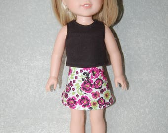 Black Tank Top and skirt set handmade for 14.5 inch Wellie Wishers tkct1122 READY TO SHIP