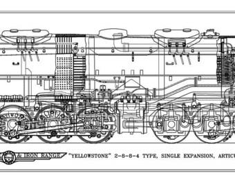 "Duluth, Missabe & Iron Range ""Yellowstone"" 2-8-8-4 Type Locomotive Drawing - Side View"