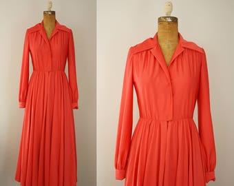 1970s maxi dress   vintage 70s coral house dress