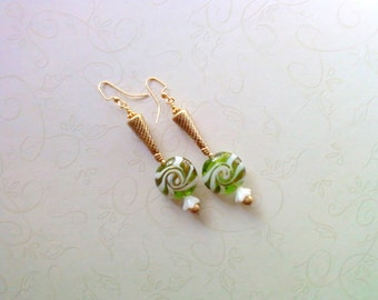 Green, Gold and White Swirl Earrings (1923)