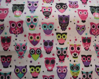 Snuggle Flannel Owls Bright White All Cotton Fabric Print Sewing Quilting Children Kids Baby By The Yard