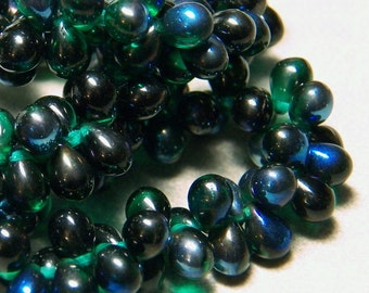 Czech Emerald Azure Glass Teardrop Beads 5x7mm (50) 1073-P