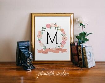 Monogram Art Nursery Letter Print Girl Pink flowers, Wall Decor, floral printable flower calligraphy monogram, Initial, custom digital