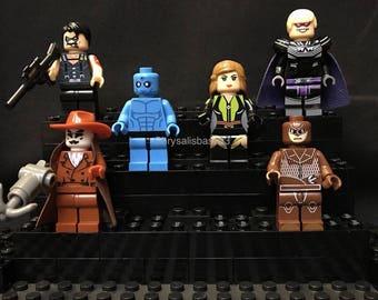 Watchmen 6 pc Minifigure Set + Stands Mini Figure Rorschach Doctor Manhattan The Comedian Nite Owl Laurie Jupiter Ozymandias USA Fast!