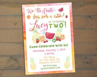 Two-tti Fruitti - 2nd Birthday Invitation - Fruit Themed Birthday