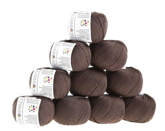 10 x 50g knitted yarn Dainty cotton, #229 dark brown