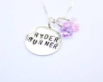 Personalized sterling silver pendant necklace with two names and two Swarovski crystals in birthstone colors