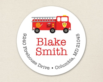 Fire Truck Address Labels - Sheet of 24