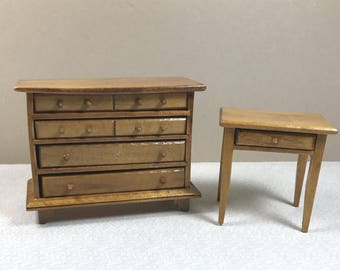 MINIATURE DRESSER and TABLE, 1:12 Scale, Wood, 1970's, Vintage Dollhouse Bedroom Furniture