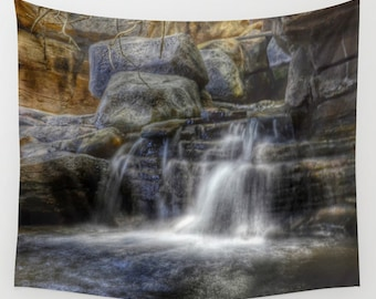 CALM WATERS Wall Tapestry, Waterfall home decor, Nature Tapestry,Stone, Rocks, Dorm, Office, Zen, Grey Brown Tapestry, Tropical Tapestry