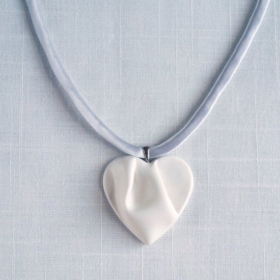 Work of HEART necklace, white and grey