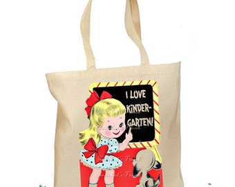 "School Tote Bag Personalized ""I Love First Grade"" Retro Gift Canvas Vintage Kindergarten Kindergarten Preschool Teacher Tote Bag"