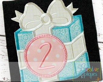 Gift Present Monogram Applique Digital Machine Embroidery Design 4 Sizes