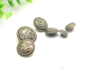 "Metal Crown Buttons Royal Bronze Overcoat Shirt Coat Sewing DIY 0.5""-1""(13mm-25mm)- m1"