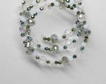 Green beaded memory wire bracelet